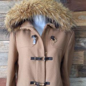Cole Haan tan wool blend walker toggle coat size 4